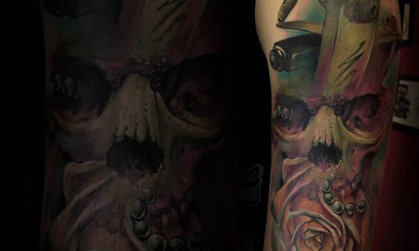 Massimo-PIazzetta-Tattoo-teschio2-kraken-Ligera-Ink-Studio-Tattoo-Milano tatuaggi Milano tatuaggio realistico realistic tattoo milano Tatuaggi Realistici Milano