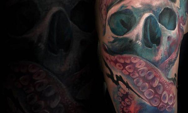 Massimo-PIazzetta-Tattoo-teschio-kraken-Ligera-Ink-Studio-Tattoo-Milano tatuaggi Milano tatuaggio realistico realistic tattoo milano tatuaggi colorati Tatuaggi Realistici Milano tattoo colorati