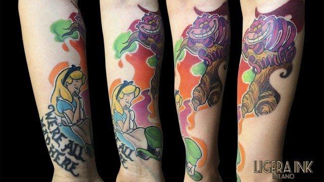 Ligera-Ink-Tattoo-Milano-Tattoo-cartoon-Tatuaggi-cartoni-animati-tattoo-cartoon-tatuaggi-disney-tatuaggio-alice-nel-paese-delle-meraviglie-migliori-tatuatori-milano-tatuaggi-belli-tatuaggio-stregatto-tatuaggio-alice