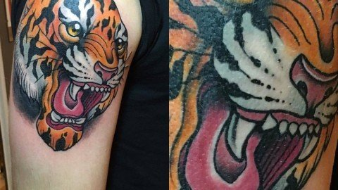 Stefano-Bonura-Tattoo-Tigre-spalla-Ligera-Ink-Studio-Tattoo-Milano-tatuaggio-tradizionale-New-traditional-tattoo tatuaggi belli