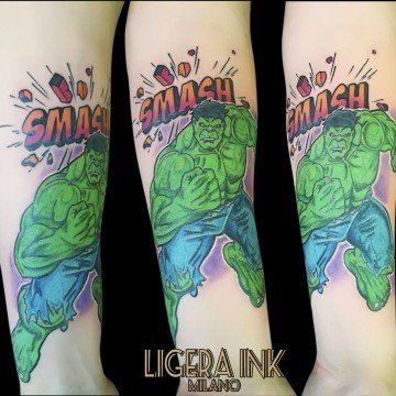 Ligera ink Tattoo Milano Rocking Silvia Tattoo cartoon Tatuaggi cartoni animati milano tattoo studio milano migliori tatuatori milano tatuaggi milano tattoo tatuatori tatuaggio hulk tattoo hulk tatuaggio marvel tattoo marvel