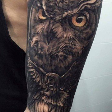 Tatuaggio gufo tattoo gufo tatuaggio gufo braccio tatuaggio realistico tatuaggi milano tattoo milano studio di tatuaggi milano tattoo studio milano