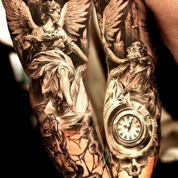 Tatuaggi angeli e demoni tattoo angelo tatuaggio realistico milano tatuaggio religioso tatuaggio braccio uomo tattoo milano tatuaggi milano migliori tatuatori milano
