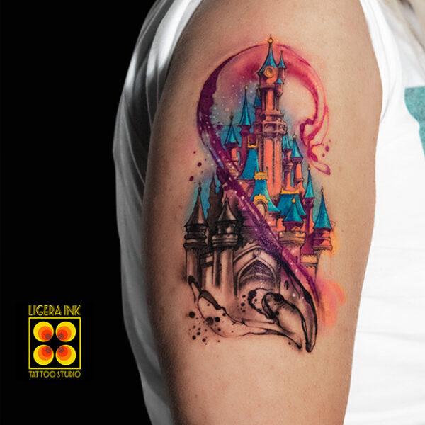 Ligera-Ink-Tattoo-Milano-Tatuaggi-milano-tatuatori-milano-tatuaggio-watercolor-milano-tattoo-watercolor-tatuaggio-castello-disney-watercolor
